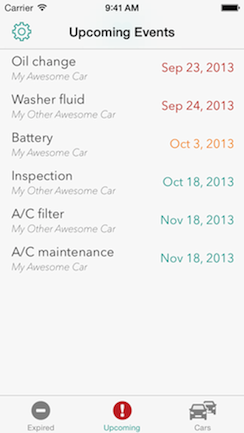 See all of your car's events at a glance; chronologically and alphabetically.