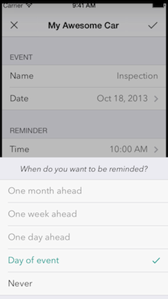 Set the date of the event and the time you want to be reminded at.